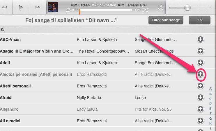 Tilføje sange til spillelisten på iPad