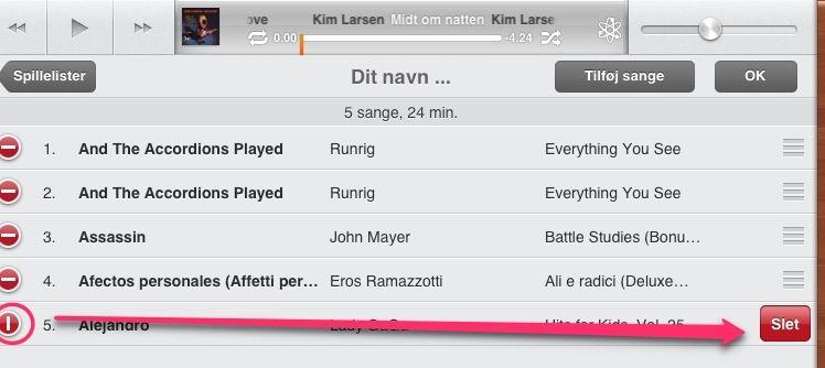 Slet sange fra spillelisten på din iPad