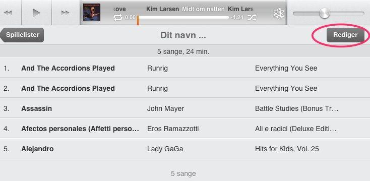 Rediger en spilleliste på din iPad