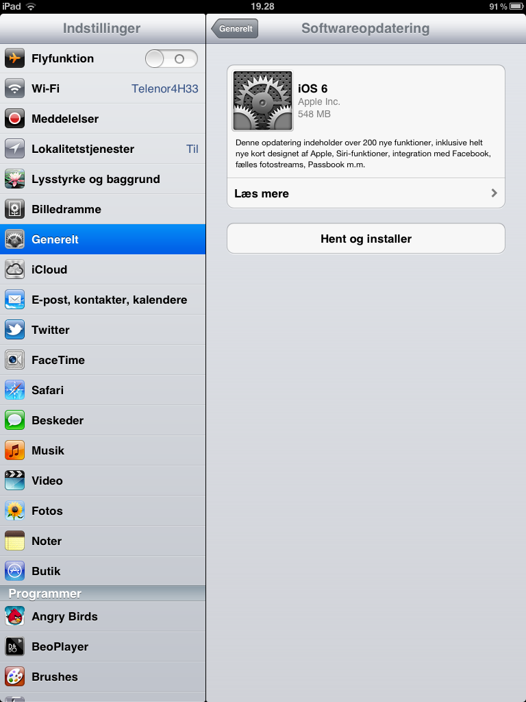 softwareopdatering_iOS6