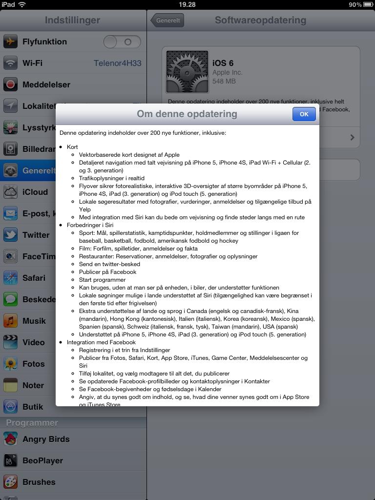 ipad2 softwareopdatering iOS6