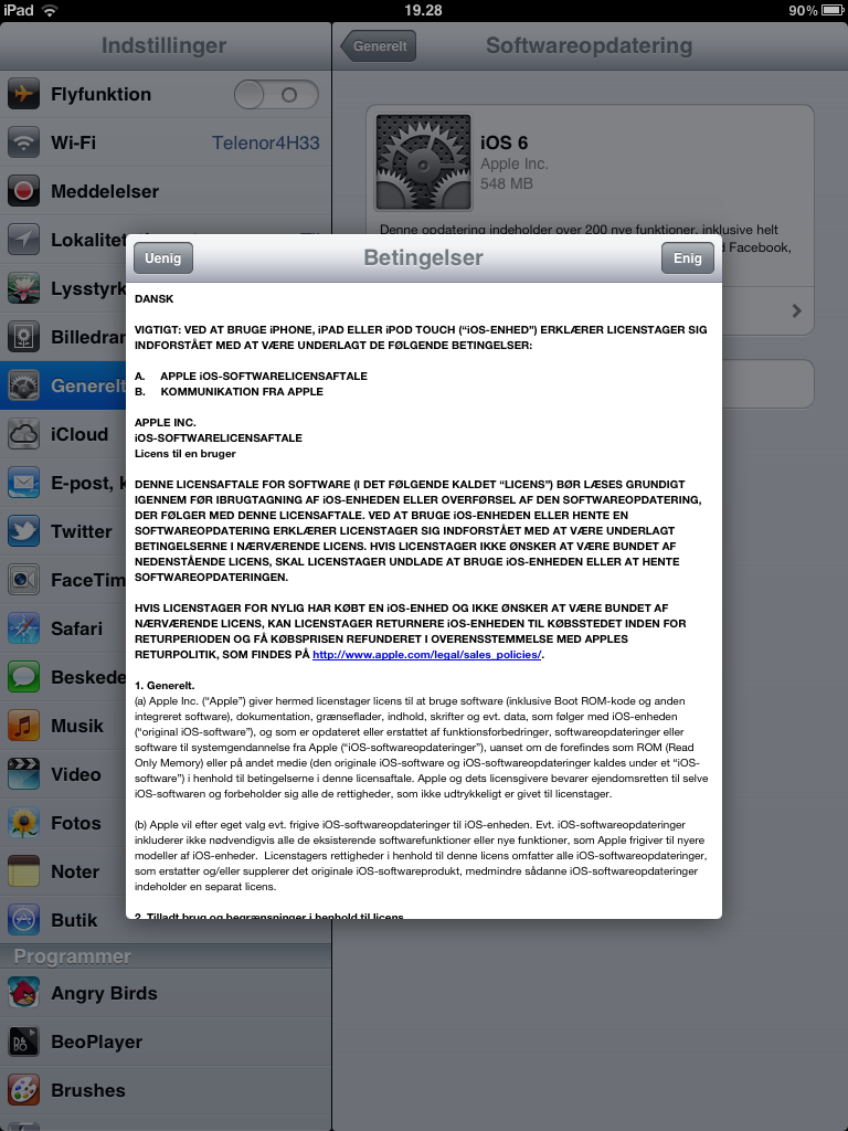 softwareopdatering iPad2